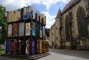 Türhaus der Gerechtigkeit auf der Weltausstellung Reformation in Wittenberg.